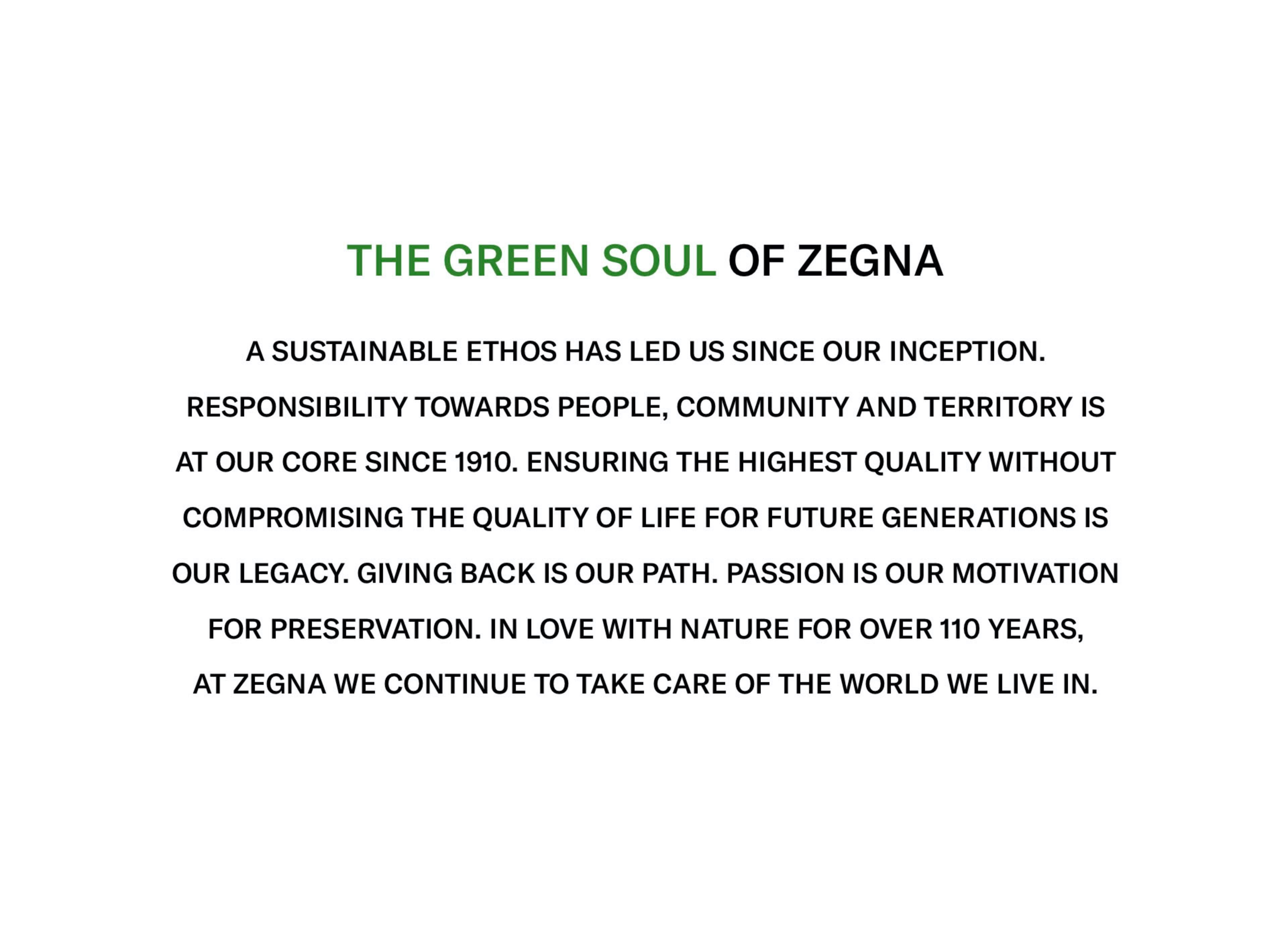 Sustainable ethos : our legacy | Zegna